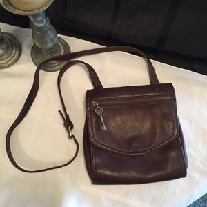 Fossil Brown Leather Messenger Style Crossbody Bag